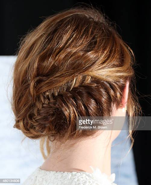 Actress Emma Stone hair detail attends the premiere of Sony Pictures Classics' 'Irrational Man' at the Writer Guild of America Theatre on July 9 2015...