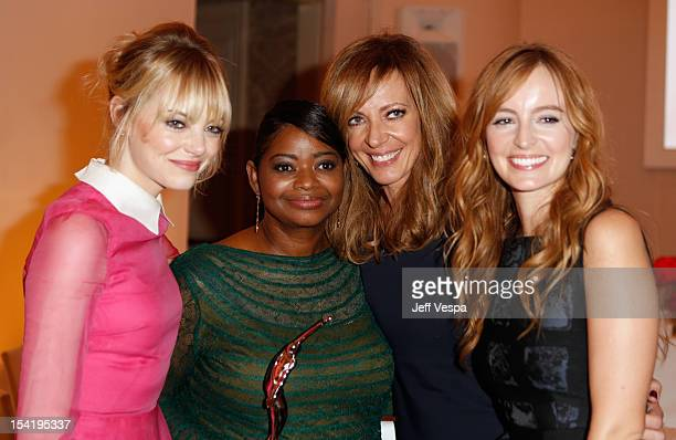 Actress Emma Stone honoree Octavia Spencer actress Allison Janney and actress Ahna O'Reilly attend ELLE's 19th Annual Women In Hollywood Celebration...