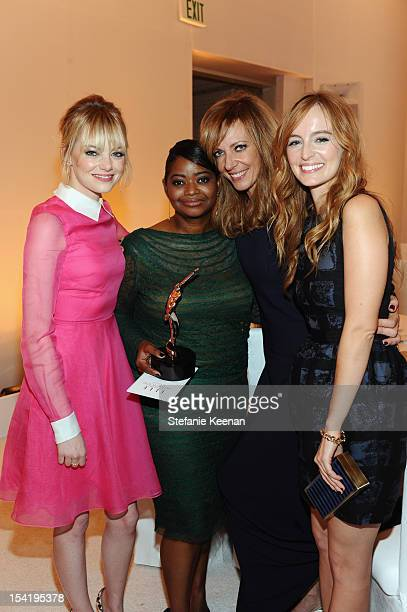 Actress Emma Stone, honoree Octavia Spencer, actress Allison Janney, and actress Ahna O'Reilly attend ELLE's 19th Annual Women In Hollywood...