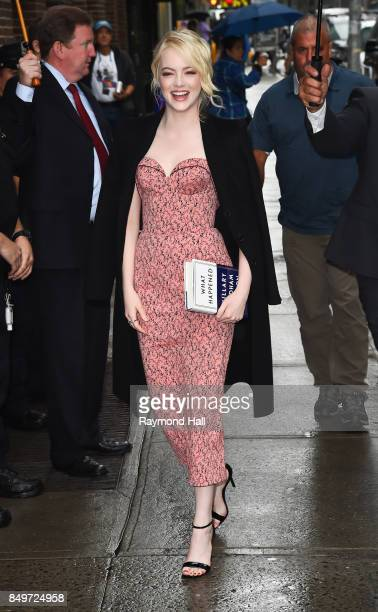 Actress Emma Stone is seen outside 'Late Show with Stephen Colbert' on September 19 2017 in New York City