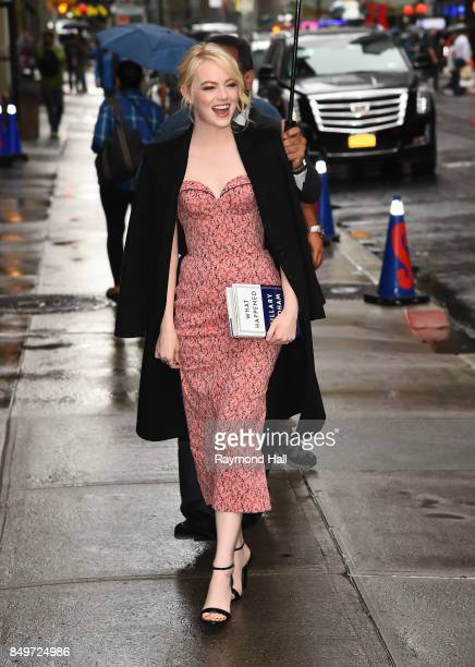 Actress Emma Stone is seen outside Late Show with Stephen Colbert on September 19 2017 in New York City