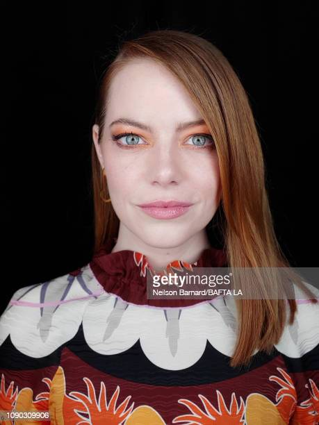 Actress Emma Stone poses for a portrait during The BAFTA Tea Party at Four Seasons Hotel Los Angeles in Beverly Hills on January 05, 2019 in Los...
