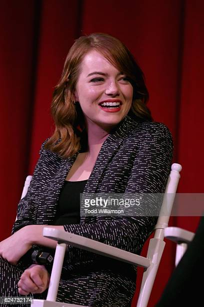 Actress Emma Stone speaks onstage during the 'La La Land' Screening during Airbnb Open LA Day 3 on November 19 2016 in Los Angeles California