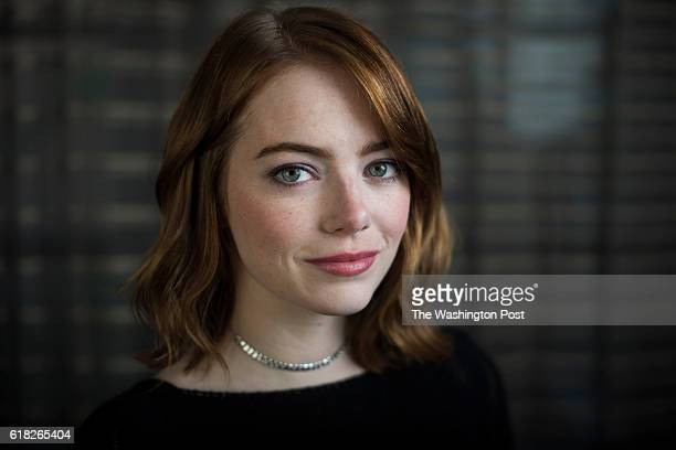 Actress Emma Stone stands for a portrait as she promotes her new movie 'La La Land' at the The RitzCarlton Georgetown in Washington DC on Saturday...