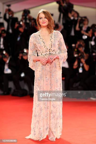 Actress Emma Stone walks the red carpet ahead of the 'The Favourite' screening during the 75th Venice Film Festival at Sala Grande on August 30 2018...