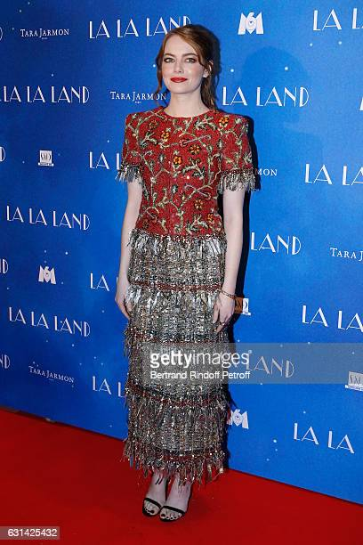 Actress Emma Stone wearing a Chanel dress attends the 'La La Land' Paris Premiere at Cinema UGC Normandie on January 10 2017 in Paris France