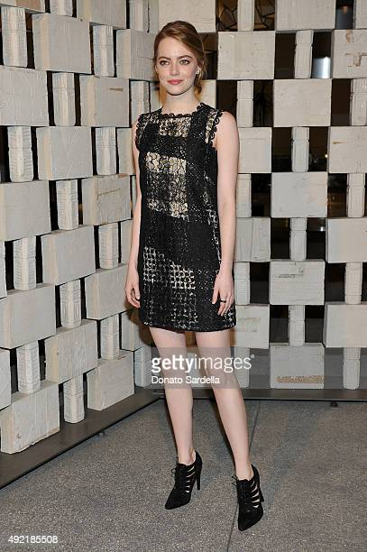 Actress Emma Stone wearing Bottega Veneta attends the Hammer Museum Gala in Garden sponsored by Bottega Veneta at Hammer Museum on October 10 2015 in...