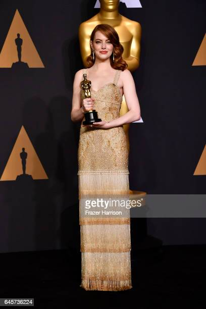 Actress Emma Stone winner of Best Actress for 'La La Land' poses in the press room during the 89th Annual Academy Awards at Hollywood Highland Center...