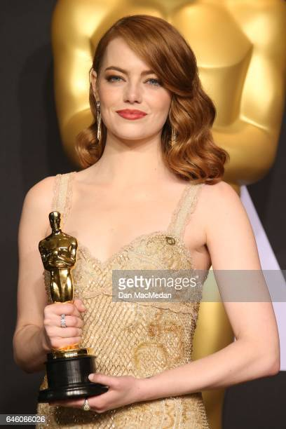 Actress Emma Stone, winner of Best Actress for 'La La Land,' poses in the press room at the 89th Annual Academy Awards at Hollywood & Highland Center...