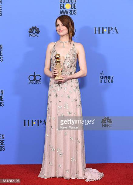 Actress Emma Stone winner of Best Actress in a Motion Picture Musical or Comedy for 'La La Land' poses in the press room during the 74th Annual...
