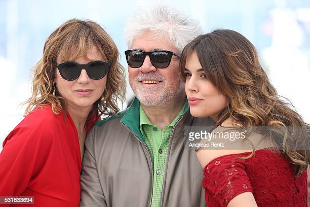 Actress Emma Suarez director Pedro Almodovar and actress Adriana Ugarte attend the 'Julieta' photocall during the 69th annual Cannes Film Festival at...