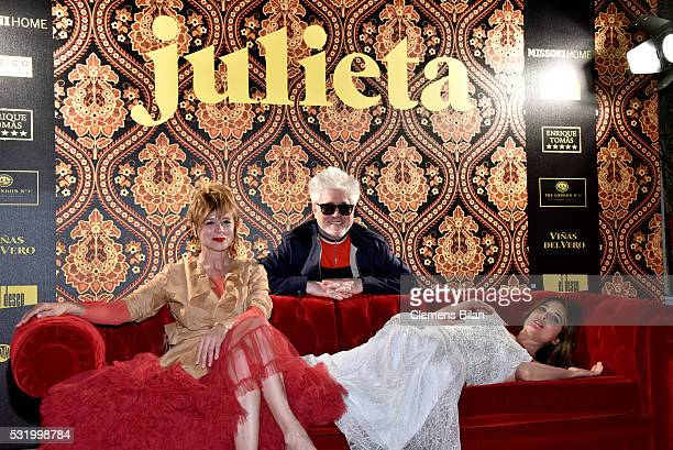 Actress Emma Suarez director Pedro Almodovar and actress Adriana Ugarte attend the Julieta After Party during the 69th annual Cannes Film Festival on...