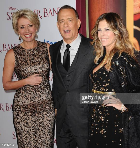 Actress Emma Thompson actor Tom Hanks and actress Rita Wilson attend the premiere of Saving Mr Banks at Walt Disney Studios on December 9 2013 in...
