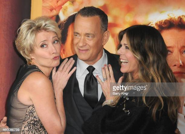 Actress Emma Thompson actor Tom Hanks and actress Rita Wilson attend the premiere of 'Saving Mr Banks' on December 9 2013 at Walt Disney Studios in...