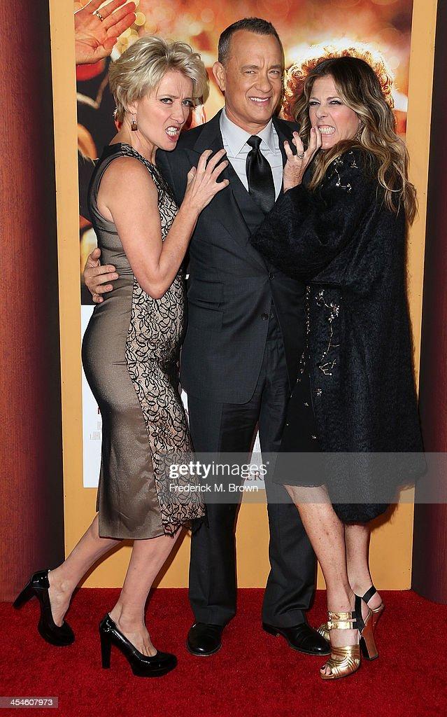 Actress Emma Thompson, actor Tom Hanks and producer Rita Wilson attend the Premiere of Disney's 'Saving Mr. Banks' at Walt Disney Studios on December 9, 2013 in Burbank, California.