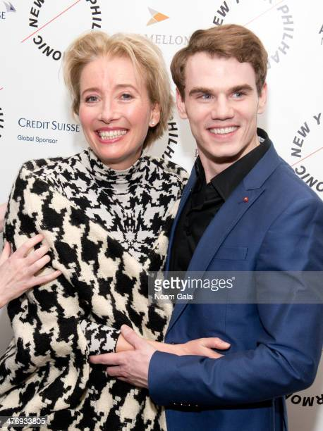 Actress Emma Thompson and actor Jay Armstrong Johnson attend the 2014 New York Philharmonic Spring Gala featuring 'Sweeney Todd The Demon Barber of...