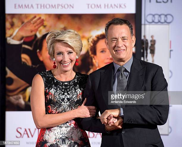 Actress Emma Thompson and actor Tom Hanks attend Thompson's hand/footprint ceremony at AFI FEST 2013 Presented By Audi at TCL Chinese Theatre on...