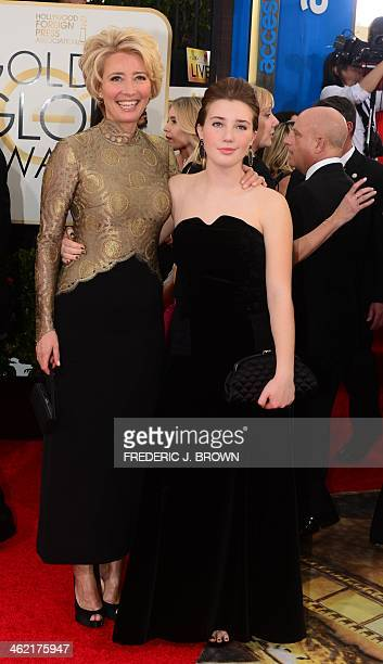 Actress Emma Thompson and daughter Gaia Romilly Wise arrive on the red carpet of the 71st Annual Golden Globe Awards in Beverly Hills California on...