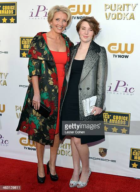 Actress Emma Thompson and daughter Gaia Romilly Wise attend the 19th Annual Critics' Choice Movie Awards at Barker Hangar on January 16 2014 in Santa...