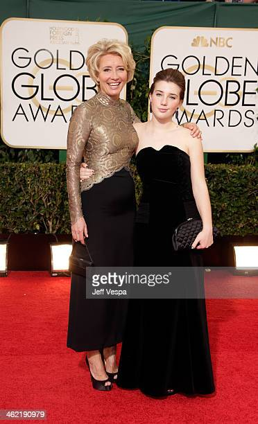 Actress Emma Thompson and daughter Gaia Romilly Wise attend the 71st Annual Golden Globe Awards held at The Beverly Hilton Hotel on January 12 2014...