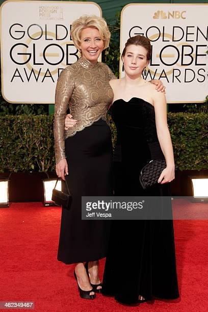 Actress Emma Thompson and Gaia Romilly attend the 71st Annual Golden Globe Awards held at The Beverly Hilton Hotel on January 12 2014 in Beverly...