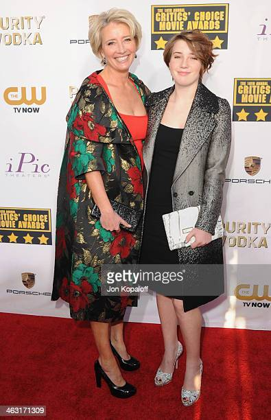 Actress Emma Thompson and Gaia Romilly Wise arrive at the 19th Annual Critics' Choice Movie Awards at Barker Hangar on January 16 2014 in Santa...