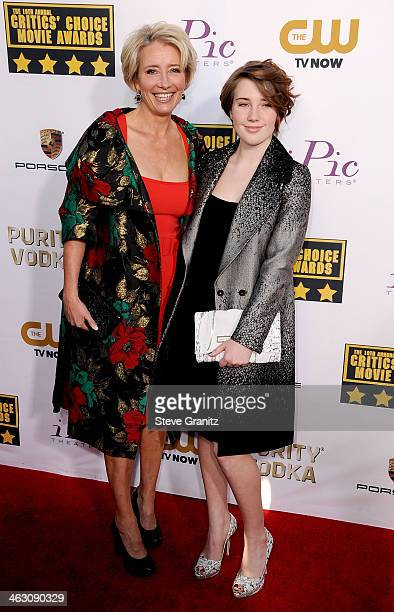 Actress Emma Thompson and Gaia Wise attend the 19th Annual Critics' Choice Movie Awards at Barker Hangar on January 16 2014 in Santa Monica California