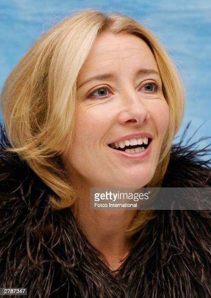 "Actress Emma Thompson answers questions from the press at a junket for her new film ""Love Actually"" at the Dorchester Hotel October 11, 2003 in..."