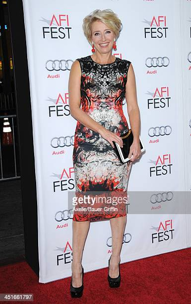 Actress Emma Thompson arrives at AFI FEST 2013 Opening Night Gala premiere of 'Saving Mr Banks' at TCL Chinese Theatre on November 7 2013 in...