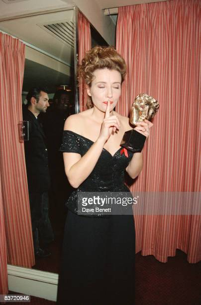Actress Emma Thompson at the BAFTAs 21st March 1993 She is holding the Best Actress award which she won for her role in 'Howard's End'