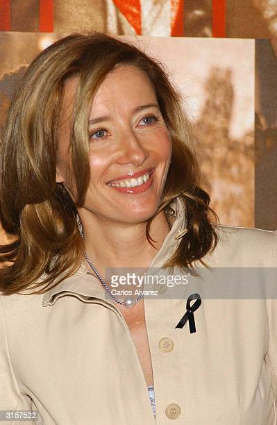 """Actress Emma Thompson attends a photocall for """"Imagining Argentina"""" on March 30, 2004 at Hotel Ritz, in Madrid, Spain."""