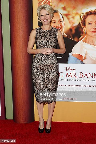 Actress Emma Thompson attends the Premiere of Disney's Saving Mr Banks at Walt Disney Studios on December 9 2013 in Burbank California