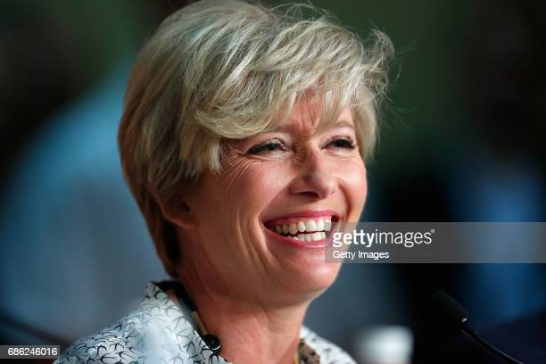 Actress Emma Thompson attends the The Meyerowitz Stories press conference during the 70th annual Cannes Film Festival at Palais des Festivals on May...