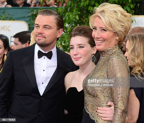Actress Emma Thompson daughter Gaia Romilly Wise and actor Leonardo DiCaprio arrive on the red carpet of the 71st Annual Golden Globe Awards in...