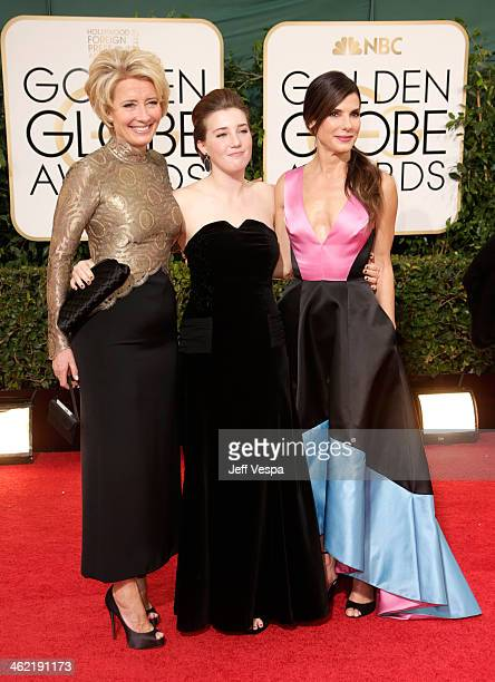 Actress Emma Thompson daughter Gaia Romilly Wise and actress Sandra Bullock attend the 71st Annual Golden Globe Awards held at The Beverly Hilton...