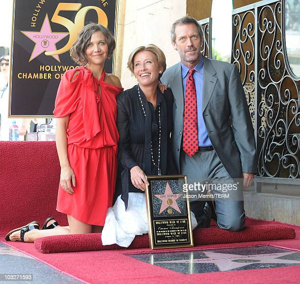 Actress Emma Thompson joins actors Hugh Laurie and Maggie Gyllenhaal at the the Hollywood Walk Of Fame Star Ceremony for Emma Thompson on August 6...