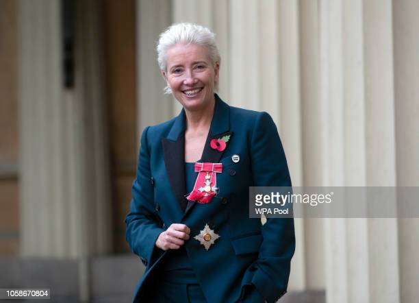 Actress Emma Thompson leaves Buckingham Palace after receiving her damehood at an Investiture ceremony on November 7 2018 in London England Ms...