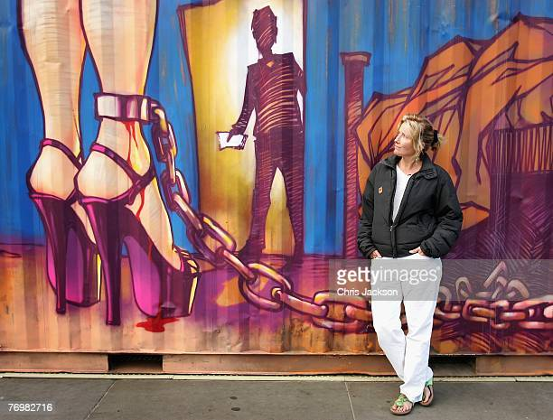 Actress Emma Thompson poses next to an art installation entitled 'The Journey against Sex Trafficking' in Trafalger Square on September 24 2007 in...