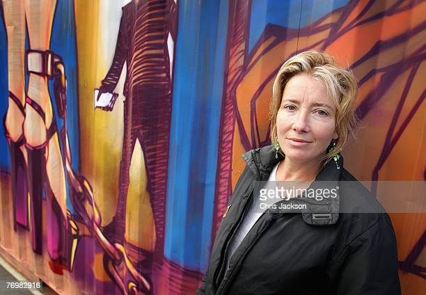 Actress Emma Thompson poses next to an art installation entitled 'The Journey Against Sex Trafficking' in Trafalgar Square on September 24 2007 in...