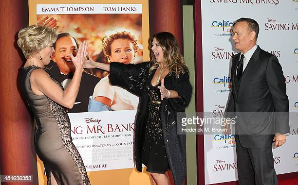 Actress Emma Thompson producer Rita Wilson and actor Tom Hanks attend the Premiere of Disney's Saving Mr Banks at Walt Disney Studios on December 9...