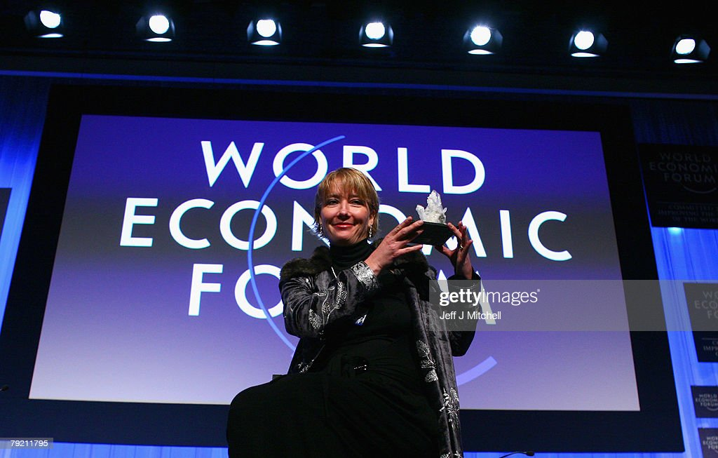 Actress Emma Thompson receives a crystal award at World Economic Forum on January 25, 2008 in Davos, Switzerland. Some of the world's top business people, heads of state and representatives of NGOs will meet at the forum until Sunday.