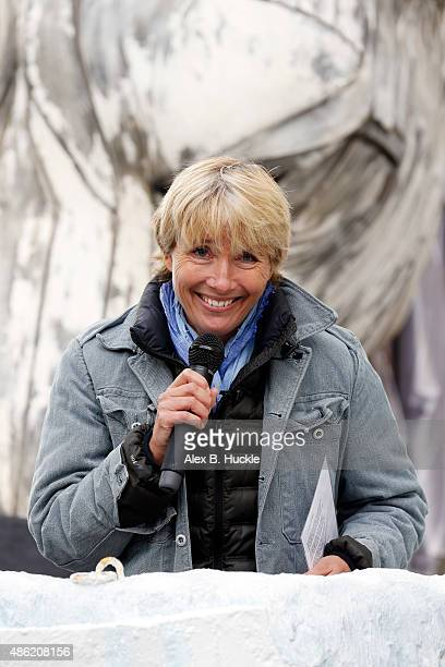 Actress Emma Thompson seen outside Shell's HQ on the Southbank where she recited a poem in protest over Arctic drilling on September 2 2015 in London...