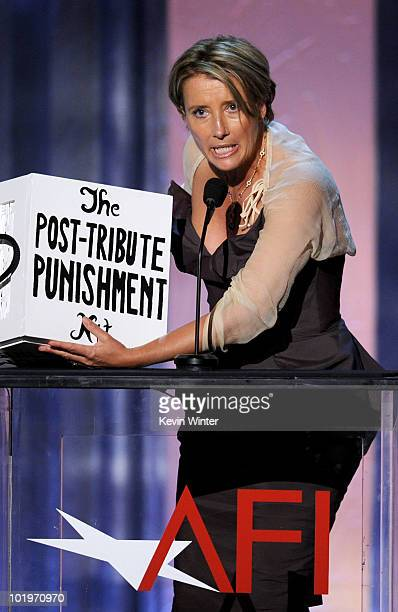 Actress Emma Thompson speaks onstage during the 38th AFI Life Achievement Award honoring Mike Nichols held at Sony Pictures Studios on June 10 2010...