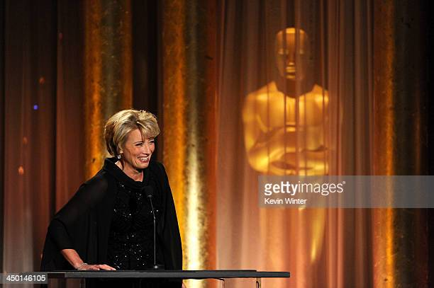 Actress Emma Thompson speaks onstage during the Academy of Motion Picture Arts and Sciences' Governors Awards at The Ray Dolby Ballroom at Hollywood...