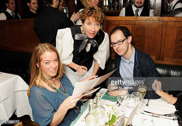 Actress Emma Thompson working as a waitress attends One Night Only at The Ivy featuring 30 stage and screen actors working as staff during dinner at...