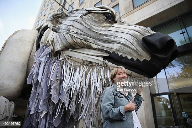 Actress Emma Thomson joins Greenpeace climate change activists outside the Shell building on September 29, 2015 in London, England. The event was...