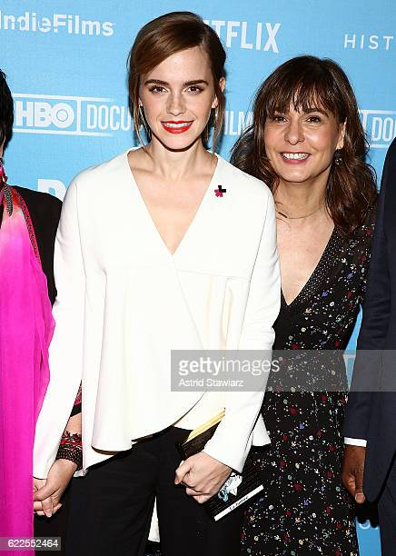 Actress Emma Watson and director Madeleine Gavin attend the 2016 DOC NYC City Of Joy Premiere at SVA Theater on November 11 2016 in New York City