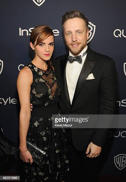 Actress Emma Watson and Editor of InStyle Ariel Foxman attend the 2014 InStyle And Warner Bros. 71st Annual Golden Globe Awards Post-Party at The...