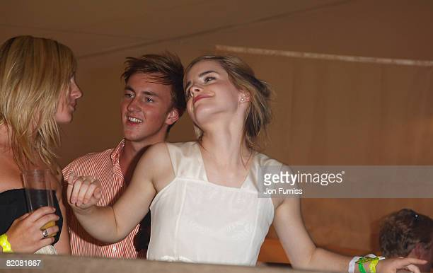 Actress Emma Watson and Francis Boulle attend the Chinawhite Tent during the Cartier International Polo held at Guards Polo Club on July 27 2008 in...