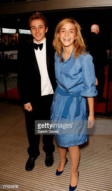 Actress Emma Watson and her brother Alex arrive at the National Movie Awards at the Royal Festival Hall on September 28 2007 in London England
